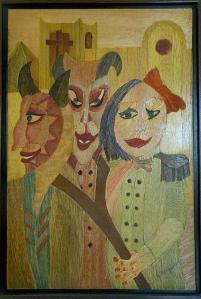 Es de los tiempos del ruido, la hice en la coleccion carnaval, honor las fiestas del diablo en Riosucio y la feminidad de algunos amigos que decidieron salir del closet. GUILLERMO GAMBA