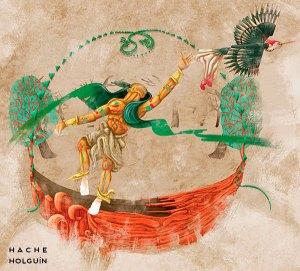 Ilustracion-mito-peruano-Cumpanama-el-pajaro-carpintero-y-la-canoa